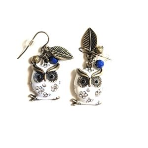 White Owl Earrings with Jewels
